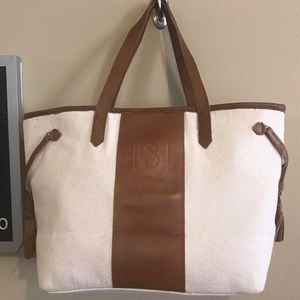 Mud Pie Miller tote bag canvas/leather S monogram